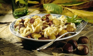 Tagliatelle with ragout of chestnut and venison served up in a restaurant in Italy.
