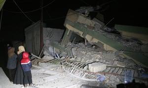 Damaged buildings in Sulaimaniya, Iraq.