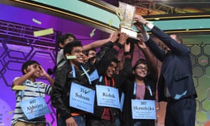 The eight winning spellers celebrate victory at the climax of the 2019 Scripps National Spelling Bee.