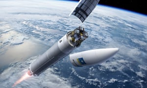 Illustration of an Ariane 5 rocket carrying a Galileo satellite.