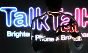 TalkTalk logo on a person using a phone