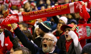 Liverpool fans during their FA Cup third round replay against Exeter City at Anfield earlier this year.