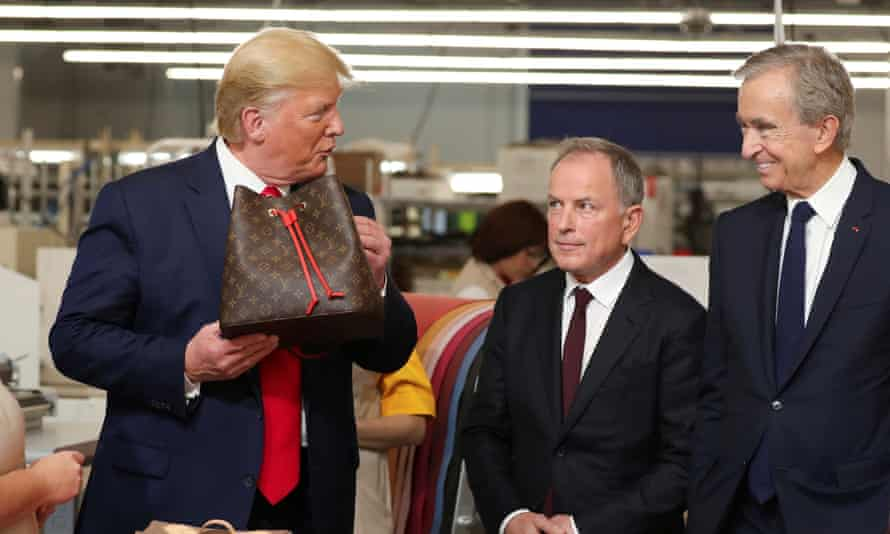 Donald Trump visits the Louis Vuitton Rochambeau Ranch leather workshop in Keene, Texas.