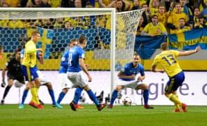 Jakob Johansson's shot is deflected past Buffon.