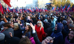 Crowds at a rally in the self-proclaimed Donetsk People's Republic