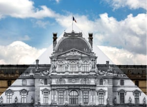 Sophisticated art … an 'anamorphic picture' by JR, covering IM Pei's glass pyramid at the Louvre, Paris.