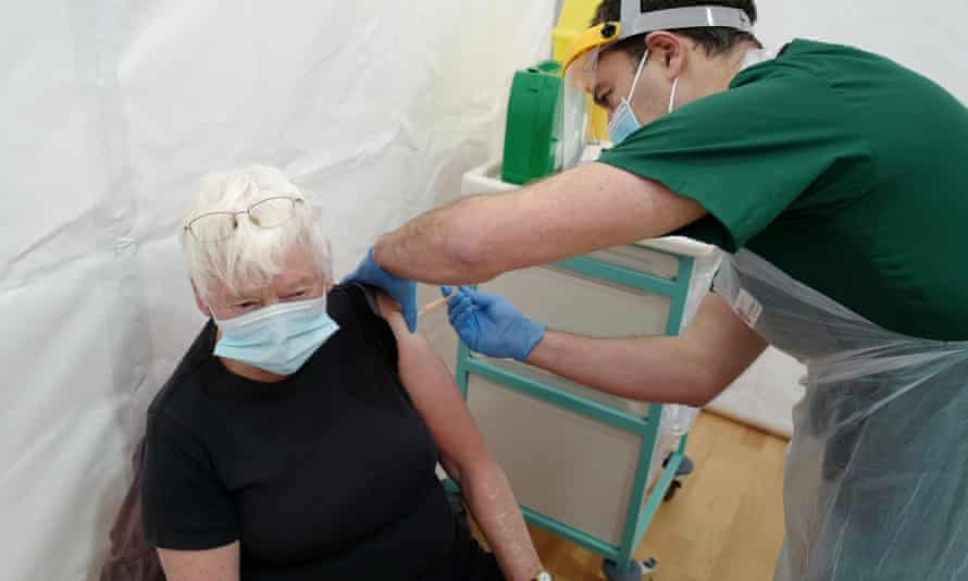 A elderly lady gets her vaccine in Cornwall.