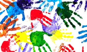 Colour hand prints painted on a white paper