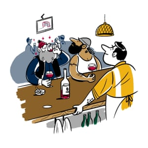 Illustration of Canadians drinking wine