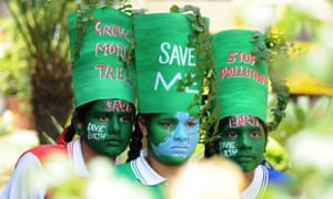 Indian girls on the eve of World Earth Day at a school in Patiala in 2015.