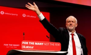 Jeremy Corbyn waves after delivering his keynote speech at the Labour party conference in Brighton on 27 September 2017