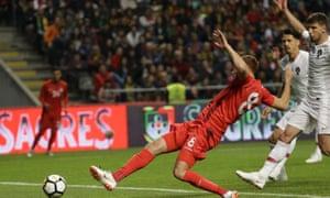 Tunisia's Fakhredine Ben Youssef scores his side's equaliser in Braga