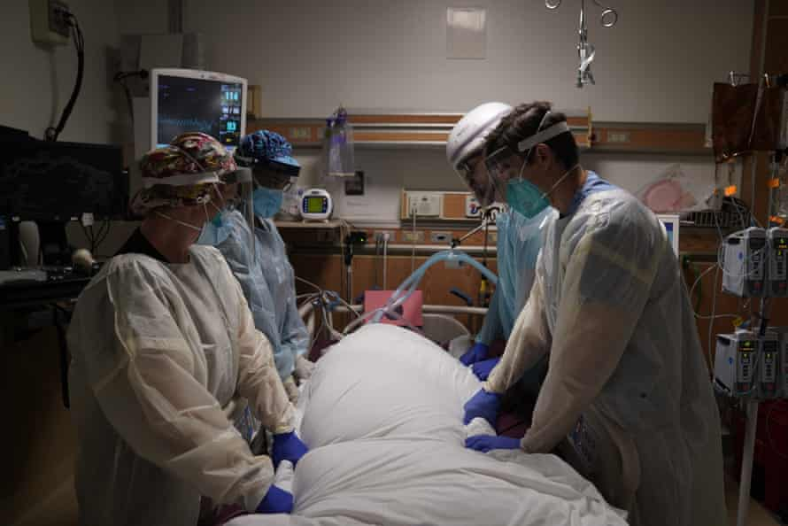 Inside an intensive care unit at Providence Holy Cross medical center in the Mission Hills section of Los Angeles.