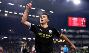 Manchester City's Rodri celebrates scoring his sides third goal.