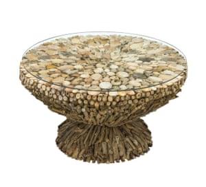 Driftwood glass-top coffee table, £269, puji.com