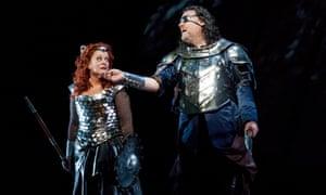 Soprano Deborah Voigt as Brunnhilde and bass-baritone Bryn Terfel as Wotan in the Met Opera's Die Walküre.