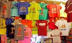 T-shirts for sale in the Souq Waqif market in Doha.