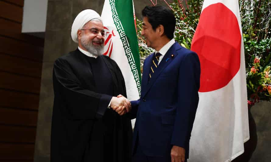 Shinzo Abe and Iranian president Hassan Rouhani in Tokyo last month.