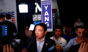 Entrepreneur Andrew Yang speaks in the spin room after the 2020 Democratic presidential debate in Houston on 12 September.