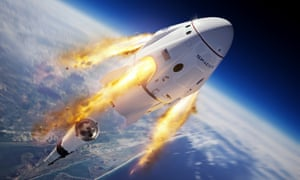 An illustration shows the Crew Dragon capsule and Falcon 9 rocket.