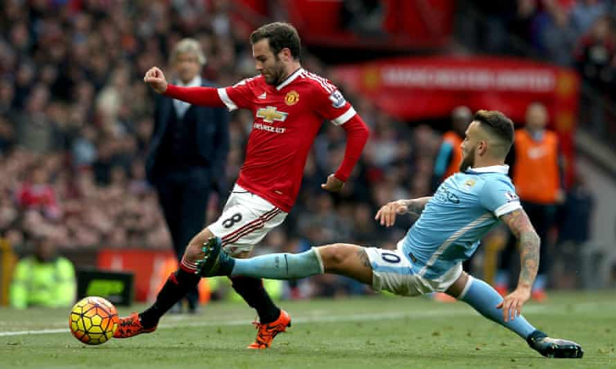 Juan Mata, left, was one of only three players in the Manchester United team that faced City in double figures for league goals for the club.