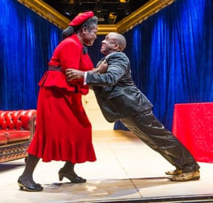 Sharon D Clarke (Lady Toof) and Lucian Msamati (Toof) in A Wolf in Snakeskin Shoes by Marcus Gardley at the Tricycle Theatre in 2015. Directed by Indhu Rubasingham