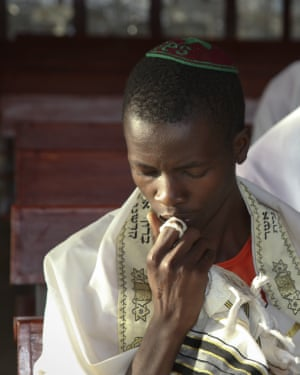 young Ugandan Jew prays at the new Stern Synagogue in Mbale