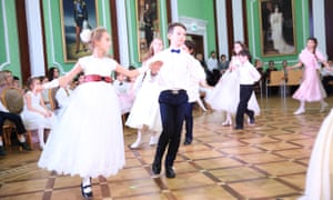 Students dancing at the St Basil the Great School in Moscow.