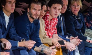 David, Victoria and Brooklyn Beckham at Paris fashion week