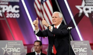 Mike Pence gives the thumbs-up to the crowd at CPAC on Thursday. To roars of approval, Pence ran through a wish list for a second Trump term.