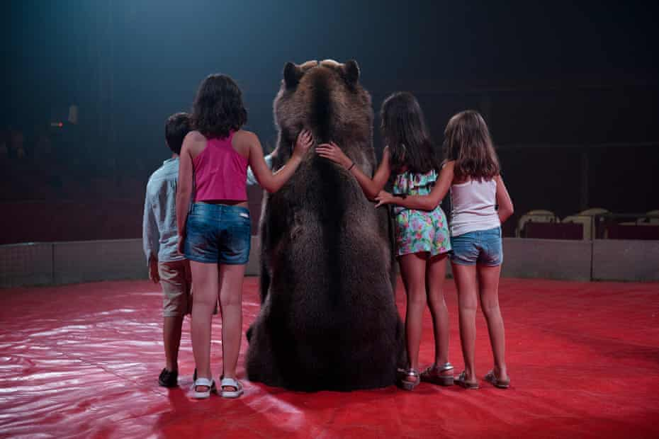 A brown bear poses for a photo with children at a circus, Spain