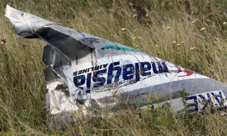 Part of the wreckage of Malaysia Airlines flight MH17, which crashed in Ukraine on 17 July 2014.