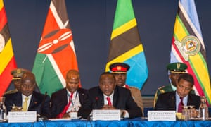 Presidents of the East African Community attend a breakfast discussion at the U.S. Chamber of Commerce in Washington, Thursday, Aug. 7, 2014. Second from left are, Uganda President Yoweri Museveni, Kenya President Uhuru Kenyatta, Tanzania President Jakaya Kikwete.