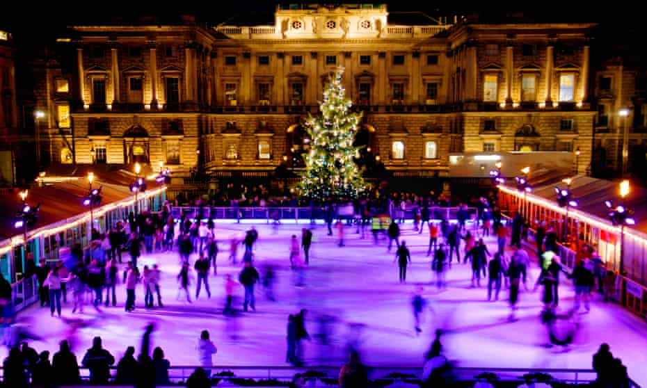 Glide and slide … skaters enjoy the rink in the 18th-century courtyard London's Somerset House.