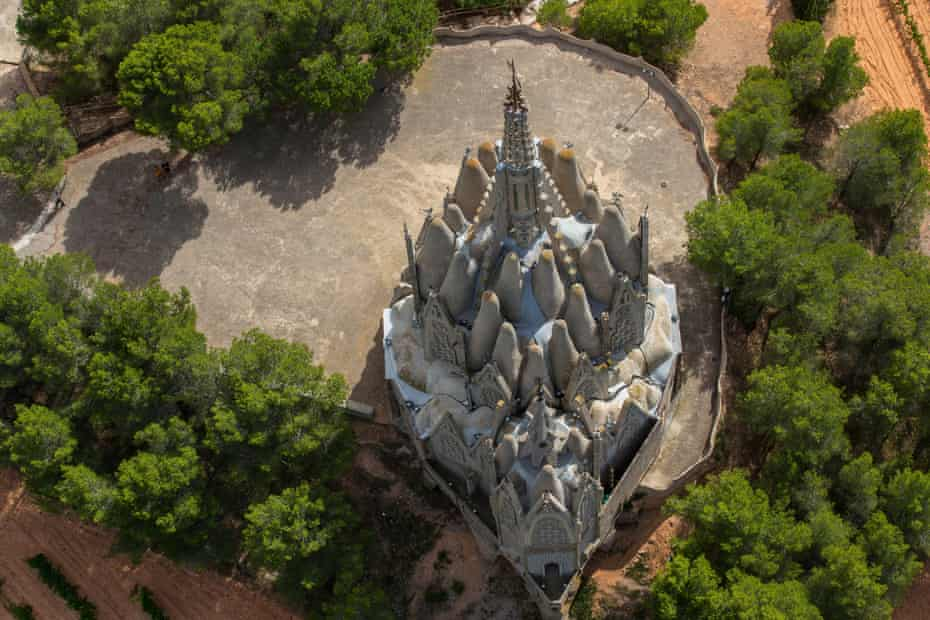 Bird's eye view of the Jujol designed Mare de Déu de Montserrat de Montferrri in Tarragona, Spain.