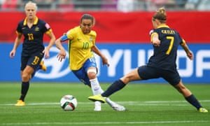 Brazil's prolific forward Marta, pictured in action against Australia at Canada 2015, could take part in her fifth Women's World Cup next summer.