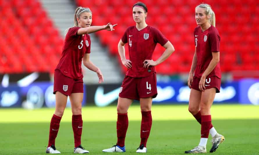 Leah Williamson, Lotte Wubben-Moy and Millie Turner during England's intra-squad friendly