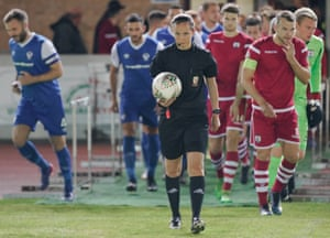 Referee and former Wales international football player Cheryl Foster oversees a 'Nathaniel MG Cup' game between Connah's Quay Nomads and Airbus Uk Broughton in the Deeside football stadium in Connah's Quay, 2nd October 2018