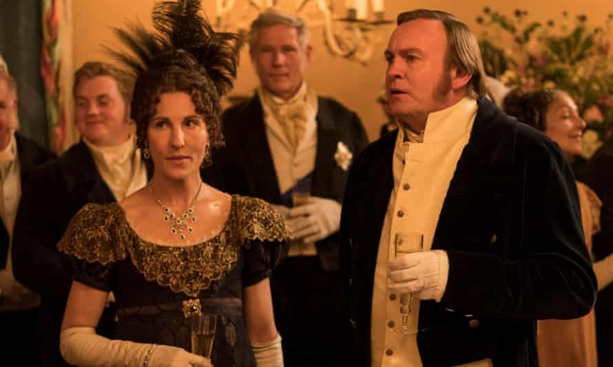 Tamsin Greig as Anne Trenchard and Philip Glenister as James Tranchard in Belgravia