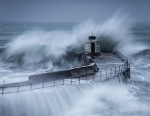 Cornwall, England: Waves hit the coast off Portreath as Storm Diana approaches Britain.