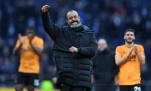 The Wolves head coach, Nuno Espírito Santo, celebrates at the end of a match