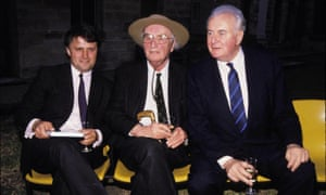 Malcolm Turnbull with his client former MI5 spy and author Peter Wright and Gough Whitlam at the launch of the book Spy Catcher in Sydney in 1988.