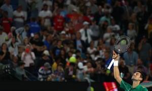Serbia's Novak Djokovic celebrates after winning his match against Germany's Jan-Lennard Struff.