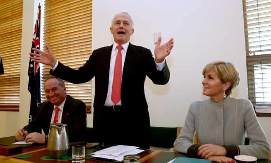 Prime minister Malcolm Turnbull addresses the joint party room on Monday before revealing his new cabinet.