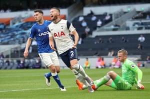 Tottenham Hotspur's Matt Doherty reacts after Everton's Jordan Pickford saves his effort.
