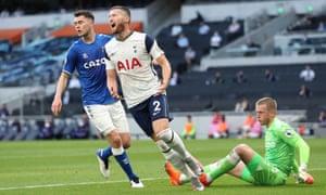 Matt Doherty reacts after Everton's Jordan Pickford saves his shot.