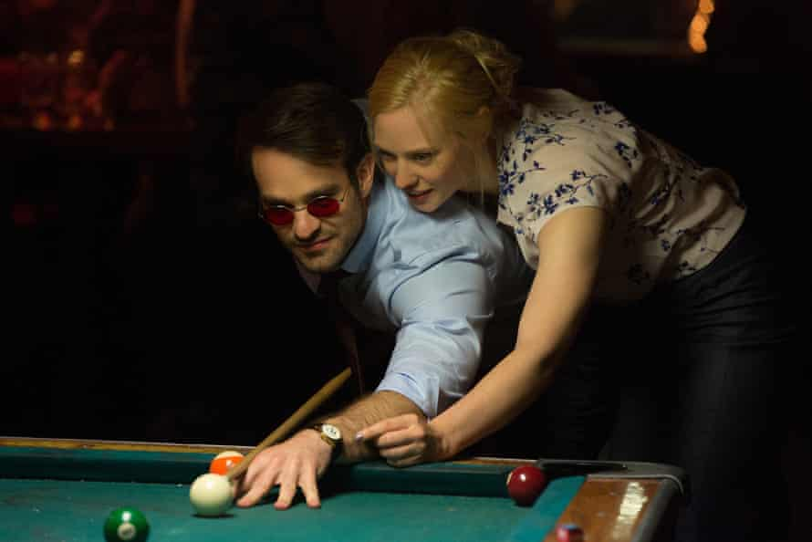 Murdoch at the pool table with Karen Page