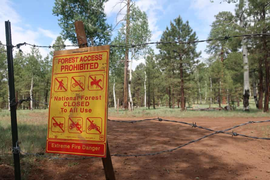 A sign warns of the closure of the national forest surrounding Flagstaff, Arizona. The Coconino national forest is one of a handful that closed this week amid high fire danger.