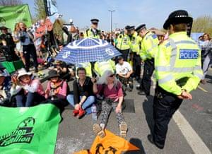 Demonstrators on Waterloo Bridge