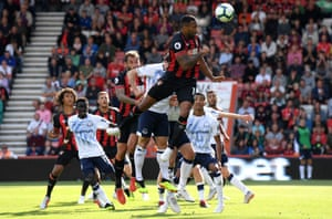 Bournemouth's Callum Wilson heads wide against Everton at the Vitality Stadium. The game finished 2-2 and saw a red card for each team.